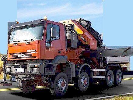 IVECO 8x8 + 25t/25m jib (2008) kamion s ravnom platformom